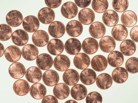 penny: Dollar coins 1 cent wheat penny cent currency of the United States useful as a background