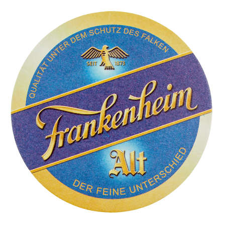 alt: BERLIN, GERMANY - MARCH 15, 2015: Beermat of German beer Frankenheim Alt isolated over white background