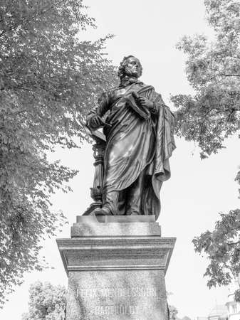 felix: The Mendelssohn Denkmal monument to German musician Jakob Ludwig Felix Mendelssohn Bartholdy was designed by Werner Stein in 1892 in Leipzig Germany in black and white Stock Photo