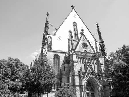 worked: Thomaskirche St Thomas Church in Leipzig Germany where Johann Sebastian Bach worked as a Kapellmeister and the current location of his remains in black and white