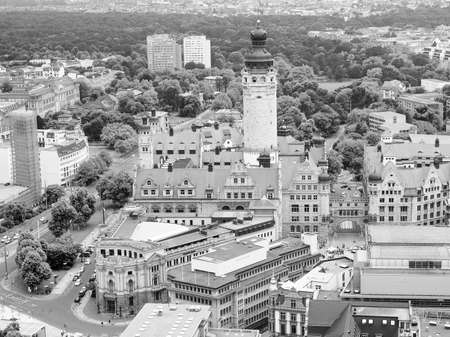 rathaus: Aerial view of the city of Leipzig in Germany with the Neue Rathaus new council hall in black and white