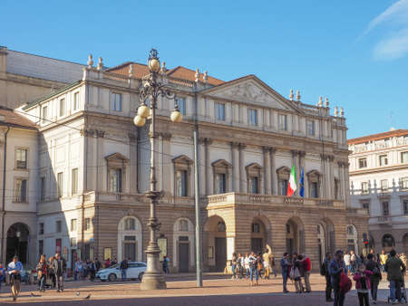 scala: MILAN, ITALY - MARCH 28, 2015: Tourists in front of Teatro alla Scala theatre in Milan Italy