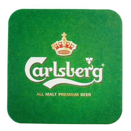 carlsberg: AMSTERDAM, DENMARK - MARCH 15, 2015: Beermat of Danish beer Carlsberg isolated over white background