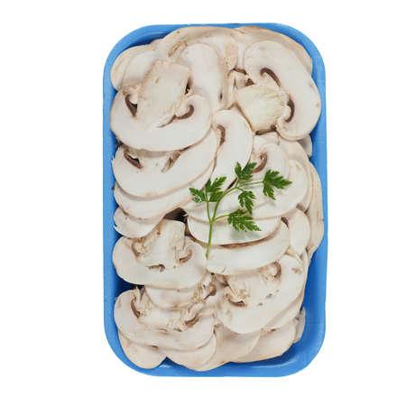 champignons: Agaricus bisporus aka champignons mushrooms isolated over white background Stock Photo