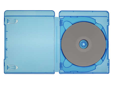bluray: Bluray video disc in a blue box isolated over white