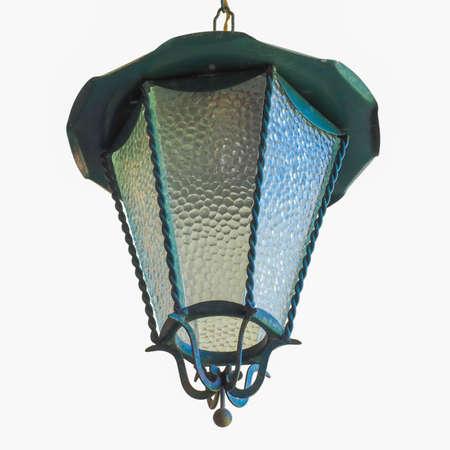 Garden pendant light for outdoor lighting isolated over white photo