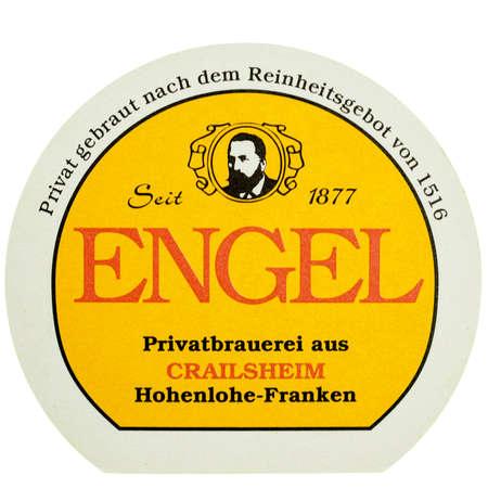 engel: BERLIN, GERMANY - MARCH 15, 2015: Beermat of German beer Engel isolated over white background