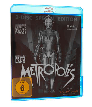 bluray: BERLIN, GERMANY - APRIL 2, 2015: The 1927 German expressionist movie Metropolis by Fritz Lang has been recently restored to its full original version with newly found footage and original music score Editorial