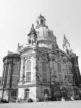 meaning: Dresdner Frauenkirche meaning Church of Our Lady in Dresden Germany in black and white