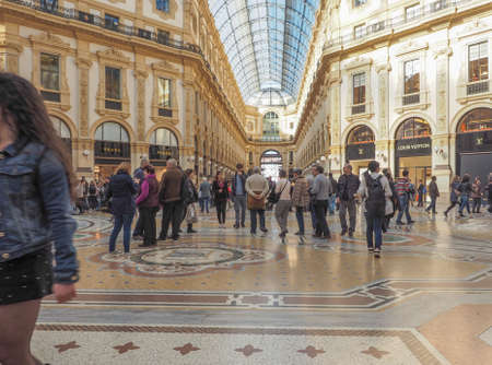 vittorio: MILAN, ITALY - MARCH 28, 2015: People visiting the newly restored Galleria Vittorio Emanuele II