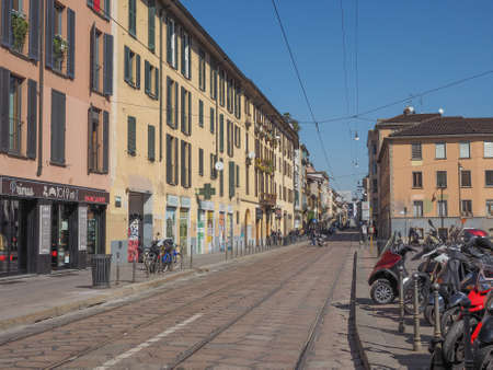 ticinese: MILAN, ITALY - MARCH 28, 2015: Via Porta Ticinese in Milan