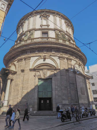 28: MILAN, ITALY - MARCH 28, 2015: Temple of San Sebastiano late Renaissance Mannerist style church in central Milan Editorial