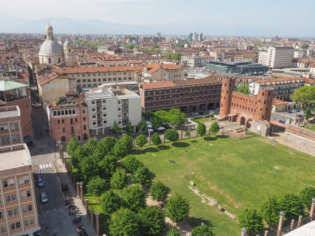 palatine: Aerial view of Palatine towers aka Porte Palatine, ruins of ancient roman town gates in Turin Editorial