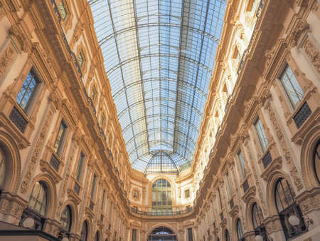 recently: MILAN, ITALY - MARCH 28, 2015: The Galleria Vittorio Emanuele II has been recently restored for the Expo Milano 2015 international exhibition