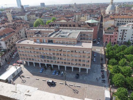 municipal editorial: TURIN, ITALY - APRIL 22, 2015: The Ufficio Tecnico meaning municipal building department was designed by architect Mario Passanti in 1950