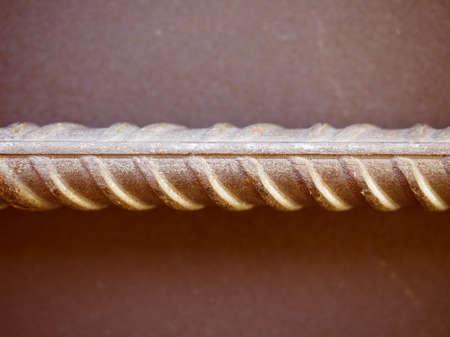 reinforcing bar: Vintage looking Reinforcing bar aka reinforcing steel or rebar for reinforced concrete structure