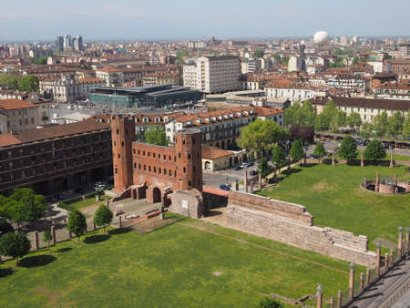 palatine: Aerial view of Palatine towers aka Porte Palatine, ruins of ancient roman town gates in Turin Stock Photo