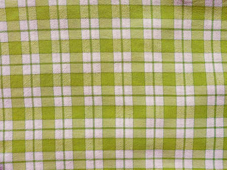 checkered tablecloth: Vintage looking Green checkered tablecloth texture useful as a background Stock Photo