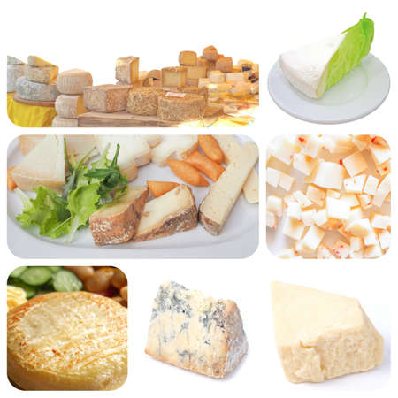 uk cuisine: Vegetarian food collage: fine British, French and Italian cheeses including Cheddar cheese, Stilton, Brie and Toma