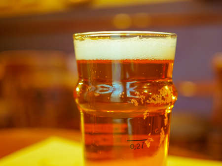pint: A pint of British ale beer alcoholic drink in a pub Stock Photo