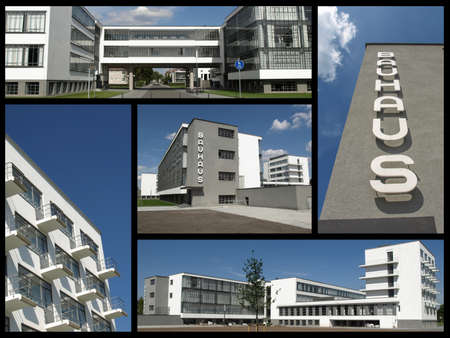 bauhaus: DESSAU, GERMANY - MAY 16, 2015: Collage of the Bauhaus building in the city of Dessau, Germany