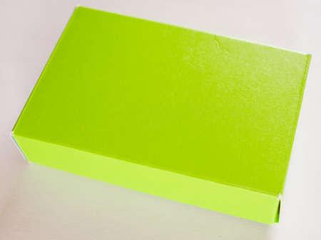 hintergrund gr�n gelb: Weinlese, die Gr�n Gelb Papier-Box-Paket Lizenzfreie Bilder