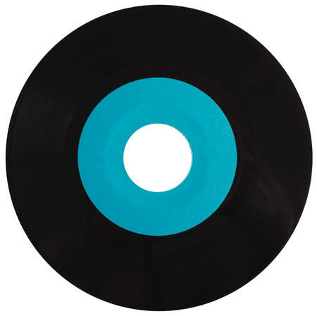 record label: Vinyl record vintage analog music recording medium with blue label isolated over white
