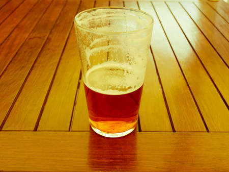 alcoholic drink: Large glass pint of beer alcoholic drink Stock Photo