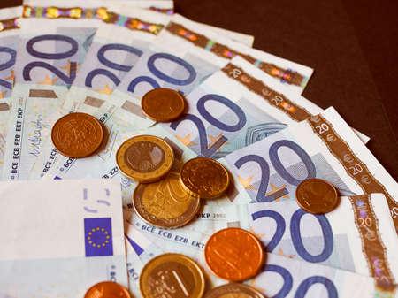 twenty: Vintage looking Twenty Euro banknotes and coins currency of Europe