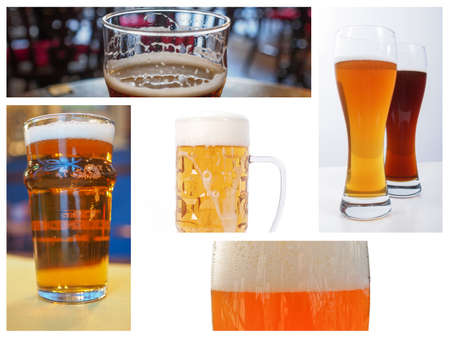 weiss: Pints of British and German beers collage