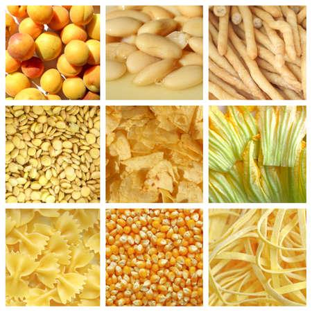 gressins: V�g�tarienne food collage: jaune l�gumes orange et de fruits, y compris abricots, haricots, des b�tons, des chips, des fleurs de courgettes, les p�tes et le ma�s Banque d'images