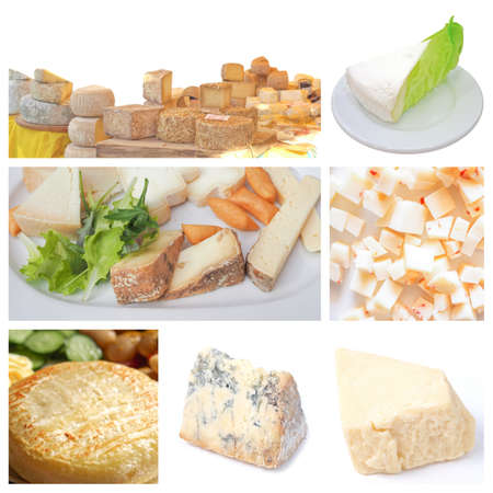 cheddar cheese: Vegetarian food collage: fine British, French and Italian cheeses including Cheddar cheese, Stilton, Brie and Toma