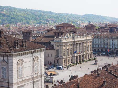 castello: Aerial view of Piazza Castello central baroque square in Turin Italy