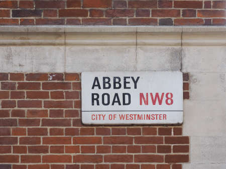 album cover: LONDON, UK - JUNE 10, 2015: Abbey Road sign made famous by the 1969 Beatles album cover Editorial