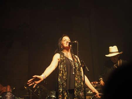 legendary: LONDON, UK - JUNE 12, 2015: Legendary German krautrock band Amon Duul II in concert Stock Photo