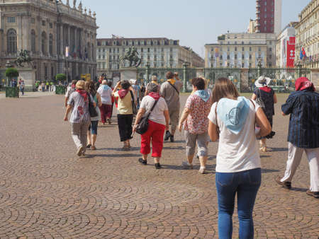 shroud: TURIN, ITALY - JUNE 19, 2015: People visiting the city centre during the Holy Shroud exhibition