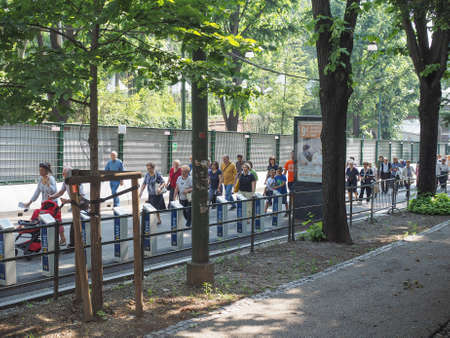 queueing: TURIN, ITALY - JUNE 19, 2015: People queueing to see the Holy Shroud aka Santa Sindone
