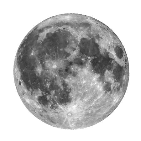 Full moon seen with a telescope from northern emisphere at night isolated over white
