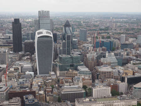london landmark: Aerial view of the city of London, UK
