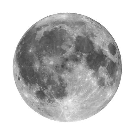 astrophoto: Full moon seen with a telescope from northern emisphere at night isolated over white