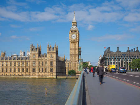 seen: LONDON, UK - JUNE 10, 2015: Houses of Parliament aka Westminster Palace seen from Westminster Bridge