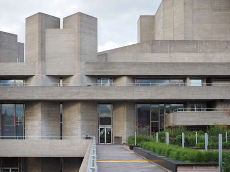 masterpiece: LONDON, UK - JUNE 09, 2015: The National Theatre designed by Sir Denys Lasdun is a masterpiece of new brutalist architecture Editorial