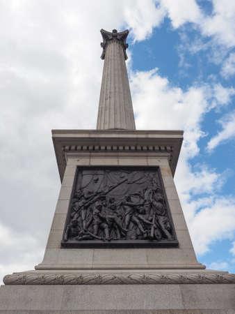nelson: Nelson Column monument in Trafalgar Square in London, UK