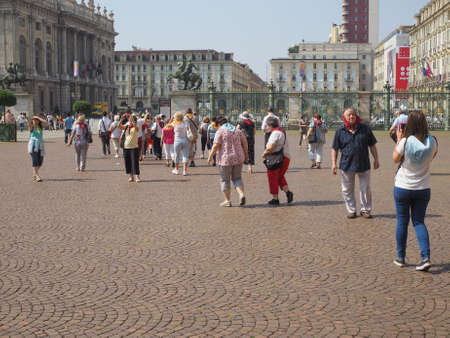 shroud: TURIN, ITALY - JUNE 19, 2015: People visiting the city during the Holy Shroud exposition