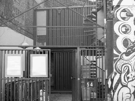 venue: LONDON, UK - JUNE 12, 2015: Village Underground music venue in Shoreditch in black and white