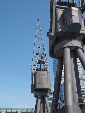 docklands: LONDON, UK - JUNE 11, 2015: Docklands harbour crane