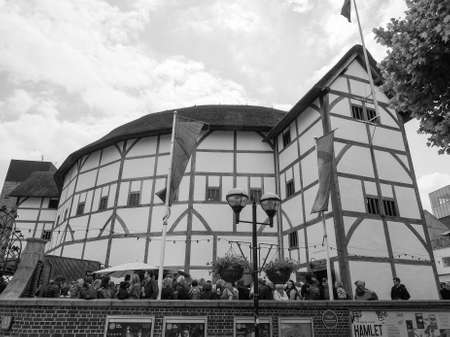 LONDON, UK - JUNE 10, 2015: The Shakespeare Globe Theatre in black and white