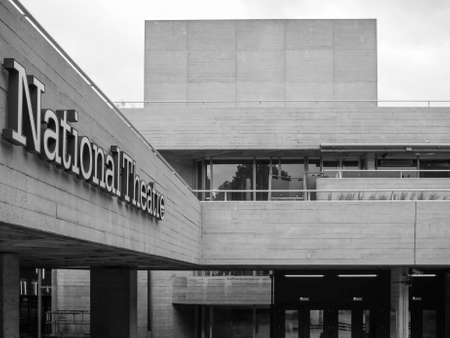 masterpiece: LONDON, UK - JUNE 09, 2015: The National Theatre designed by Sir Denys Lasdun is a masterpiece of new brutalist architecture in black and white