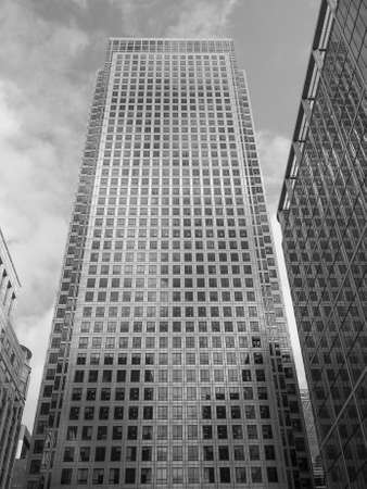 business centre: LONDON, UK - JUNE 10, 2015: The Canary Wharf business centre is the largest business district in the United Kingdom in black and white Editorial