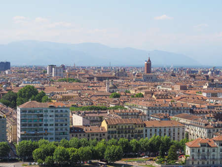 seen: Aerial view of the city of Turin, Italy seen from the hill